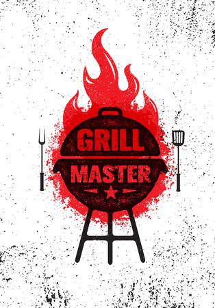 Grill Master Meat On Fire Barbecue Menu Vector Design Element. Cibo all'aperto pasto creativo segno approssimativo Vettoriali