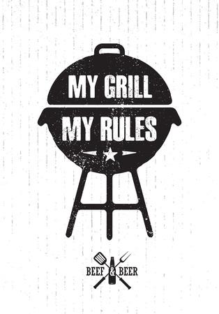 Grill Master Meat On Fire Barbecue Menu Élément De Conception De Vecteur. Nourriture en plein air repas créatif signe rugueux