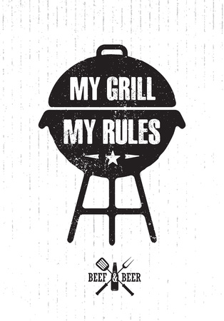Grill Master Meat On Fire Barbecue Menu Vector Design Element. Outdoor Food Meal Creative Rough Sign Çizim