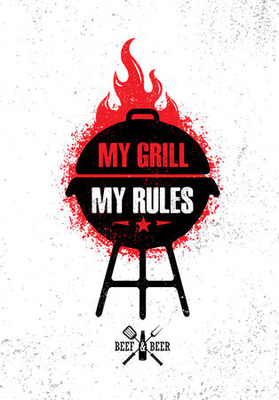 Grill Master Meat On Fire Barbecue Menu Vector Design Element. Outdoor Food Meal Creative Rough Sign Ilustração