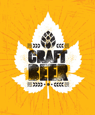 Craft Beer Brewery Artisan Creative Vector Stamp Sign Concept. Rough Handmade Alcohol Banner. Menu Page Design Element