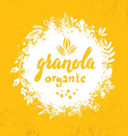 Élément de conception de nourriture de nutrition de vecteur de céréales de granola de casse-croûte végétalien sain. Concept biologique fait à la main. Illustration de petit-déjeuner écologique rugueux sur fond de mur grunge
