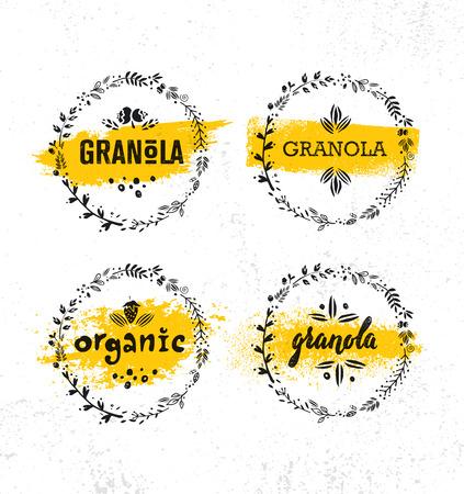 Healthy Vegan Snack Granola Cereal Vector Nutrition Food Design Element. Organic Handmade Concept. Rough Eco Breakfast Illustration On Grunge Wall Background