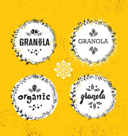 Elemento de diseño de alimentos de nutrición de vector de cereal de granola de bocadillo vegano saludable. Concepto orgánico hecho a mano. Ilustración de desayuno ecológico áspero en el fondo de la pared de grunge