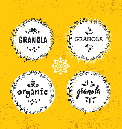 Gesunde vegane Snack-Müsli-Getreide-Vektor-Ernährung-Lebensmittel-Design-Element. Organisches handgemachtes Konzept. Grobe Öko-Frühstück-Illustration auf Grunge-Wand-Hintergrund