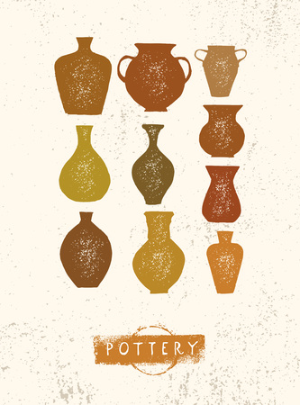 Handmade Clay Pottery Workshop. Artisanal Creative Craft Sign Concept. Organic Illustration On Rough Background.