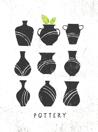Handmade Clay Pottery Workshop. Artisanal Creative Craft Sign Concept. Organic Illustration On Textured Rough Background Vettoriali