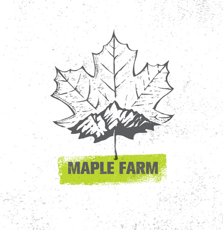 Organic Maple Syrup Producer Farm Creative Rough Vector Sign On Textured Paper Background.