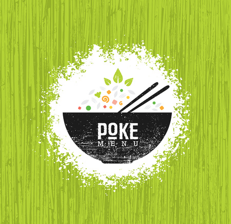 Elemento de diseño vectorial de restaurante de cocina hawaiana Poke Bowl. Menú de comida sana Ilustración áspera creativa sobre fondo orgánico.