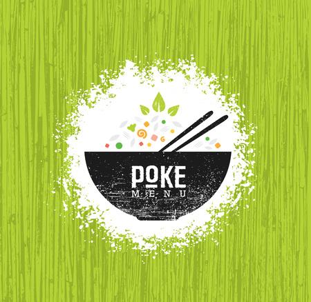 Poke Bowl dania kuchni hawajskiej restauracji wektor element projektu. Menu zdrowej żywności kreatywnych szorstki ilustracja na tle organicznych.