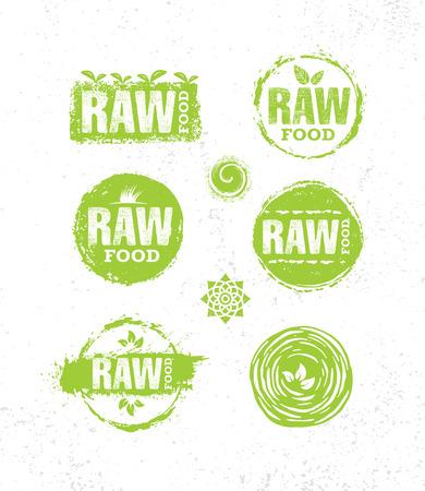 Rauw dieet gezond gezond voedsel creatief tekenconcept. Biologische Lokale Boerderij Illustratie Op Ruwe Eco Achtergrond.