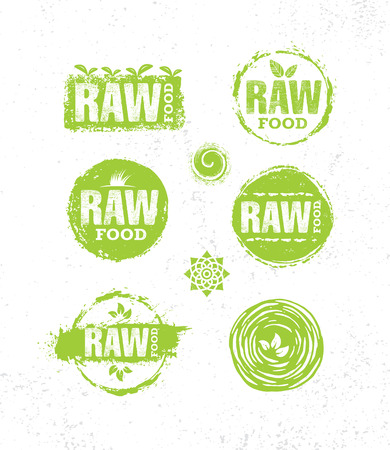 Raw Diet Wholesome Healthy Food Creative Sign Concept. Organic Local Farm Illustration On Rough Eco Background. Illustration