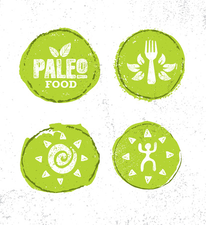 Paleo Food Diet Primal Nutrition Organic Wholesome Illustration Concept On Rough Wall Background. Mammoth Vector Sign