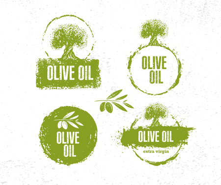 Organic Raw Olive Oil Vector Creative Design Element. Extra Virgin Eco Food Label Concept On Raw Background. 向量圖像