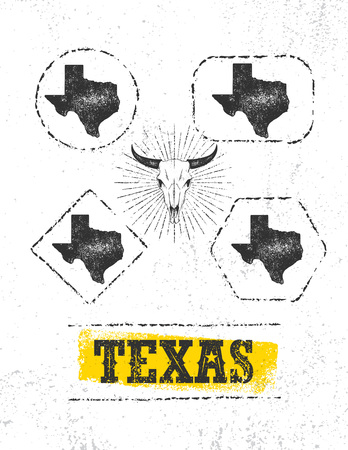 Texas Pride Rough Vector Illustration Grunge Illustration On Stained Wall Background. Illustration