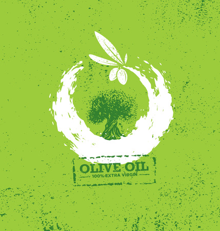 Organic Raw Olive Oil Vector Creative Design Element. Extra Virgin Eco Food Label Concept On Raw Background