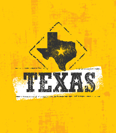 Texas Pride Rough Vector Illustration Grunge Illustration On Stained Wall Background. Standard-Bild