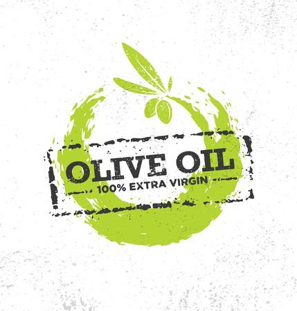 Organic Raw Olive Oil Vector Creative Design Element. Extra Virgin Eco Food Label Concept On Raw Background. Иллюстрация