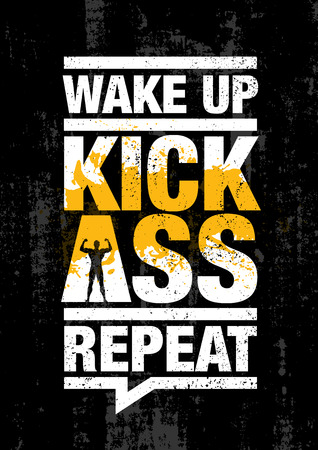 Wake Up. Kick Ass. Repeat. Fitness Gym Sport Workout Motivation Quote Poster Vector Concept. Stok Fotoğraf - 110860028