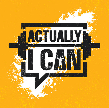 Actually I Can. Inspiring Workout and Fitness Gym Motivation Quote Illustration Sign. Creative Strong Sport Vector