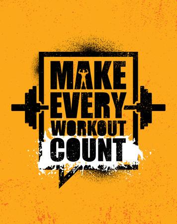 Haga que cada entrenamiento cuente. Plantilla inspiradora del cartel de la cita de la motivación creativa. Concepto de diseño de banner de tipografía vectorial