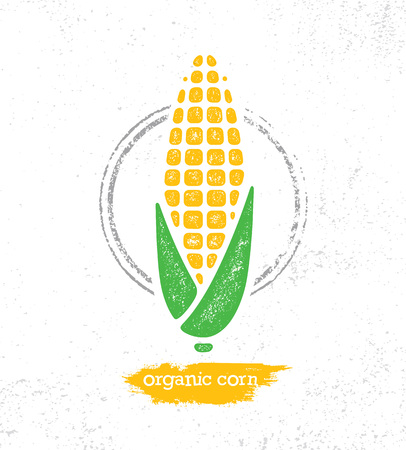 Organic Sweet Corn On The Cob Creative Vector Design Element For Menu Design. Healthy Food Illustration Concept On Textured Background. Imagens - 127192989