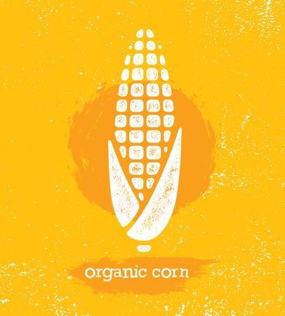 Biologische suikermaïs Creatief vectorontwerpelement voor menuontwerp. Gezonde voeding illustratie concept op gestructureerde achtergrond.