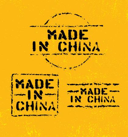 Made In China Rough Vector Stencil Stamp On Grunge Textured Background. Original Sign Design Concept. Illustration