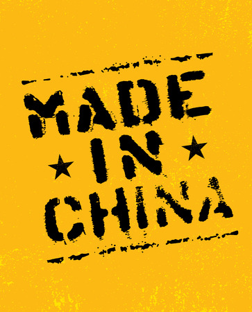 Made In China Rough Vector Stencil Stamp On Grunge Textured Background. Original Sign Design Concept. Çizim