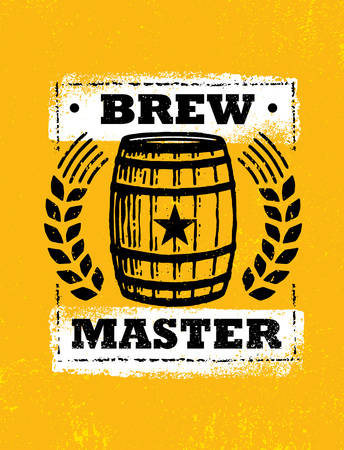 Brew Master. Craft Beer Local Brewery Artisan Creative Vector Sign Concept. Rough Handmade Alcohol Banner. Beverage Menu Page Design Element On Organic Texture Background Çizim