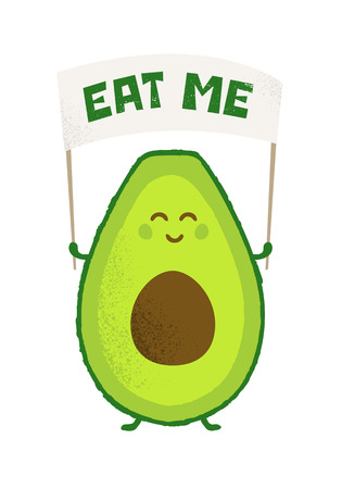 Keto Diet Avocado Power Funny Creative Vector Motivational Poster Concept. Organic Nutrition Healthy Food Bright Banner Design Çizim