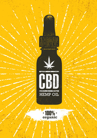 Organic CBD Oil Hemp Health Care Vector Design Element. Medicine Cannabis Oil Nutrition And Wellness Illustration Stok Fotoğraf - 121963055