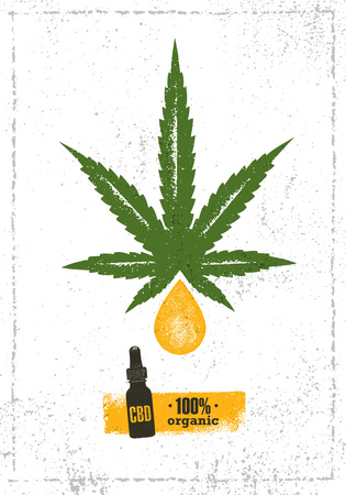 Organic CBD Oil Hemp Health Care Vector Design Element. Medicine Cannabis Oil Nutrition And Wellness Illustration
