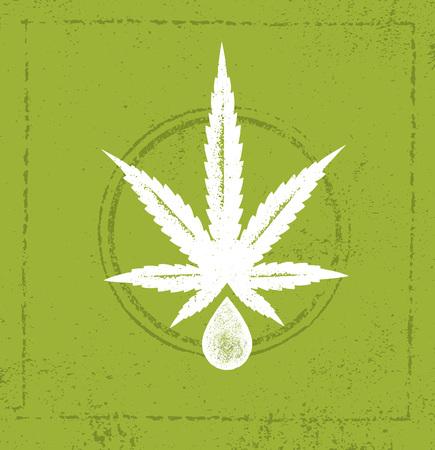Organic CBD Oil Hemp Health Care Vector Design Element. Medicine Cannabis Oil Nutrition And Wellness Illustration