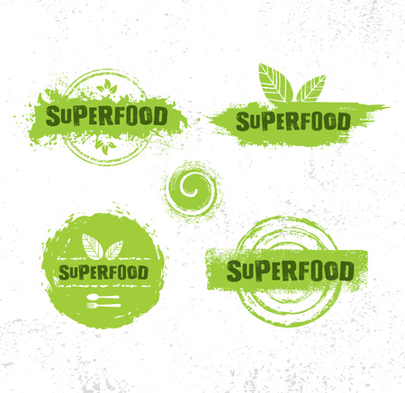Organic Raw Superfood Vector Design Elements. Health Conscious Local Food Sustainable Concept.