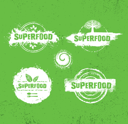 Organic Raw Superfood Vector Design Elements. Health Conscious Local Food Sustainable Concept On Rough Textured Background.