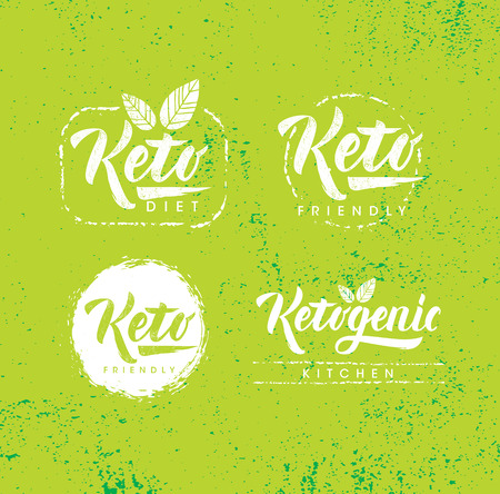 Keto Friendly Diet Nutrition Vector Design Elements On Rough Organic Textured Background. Creative Illustration Concept Çizim