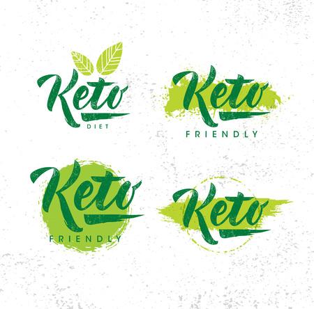 Elementi di disegno di vettore di nutrizione dieta amichevole Keto su priorità bassa strutturata organica ruvida.