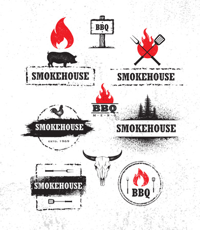 Smokehouse Barbecue Meat On Fire Menu Artisanal Vector Design Element. Outdoor Meal Creative Rough Sign Imagens - 121499857