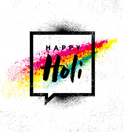 Happy Holi. Rainbow Splash Paint Vector Brigh Rough Illustration On Textured Background