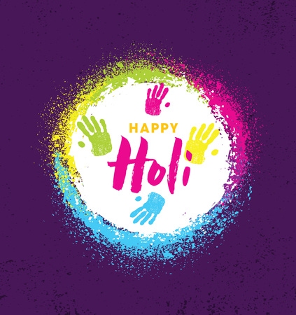 Happy Holi. Rainbow Splash Paint Vector Brigh Rough Illustration On Textured Background
