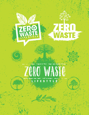Zero Waste Lifestyle. Creative Vector Eco Green Design Element. Organic Bio Concept On Natural Rough Background