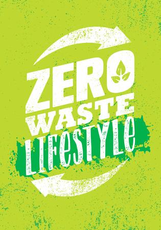 Stile di vita a rifiuti zero. Elemento di design verde Eco di vettore creativo. Concetto di bio biologico su sfondo naturale ruvido