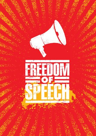 Freedom Of Speech. Inspiring Civil Rights Protest Megaphone Illustration On Textured Background.