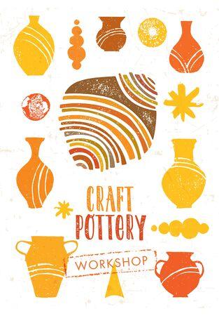 Handmade Ceramics Craft Clay Artisanal Pottery Vector Design Element Set 일러스트