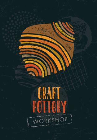Handgemaakte keramiek ambachtelijke klei aardewerk vector ontwerpelement