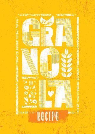 Healthy Vegan Snack Granola Cereal Vector Nutrition Food Design Element.