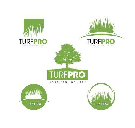 Elemento de diseño creativo de Turf Lawn And Garden Care Company. Vector icono de hierba y árbol para empresa de paisajismo