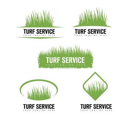 Elemento de diseño creativo de Turf Lawn And Garden Care Company. Vector icono de hierba y árbol para empresa de paisajismo Ilustración de vector