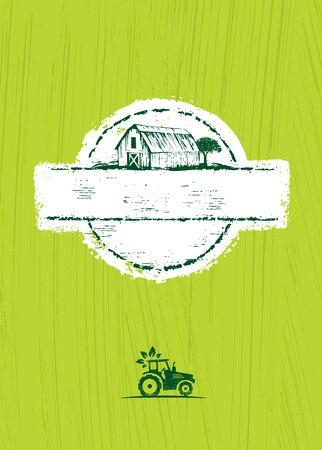 Old Barn Local Farm Craft Food Vector Design Element On Painted Wall Background